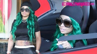 Blac Chyna Shows Off Her New Ferrari & Green Hair At Saks After Breaking Up With Rob Kardashian