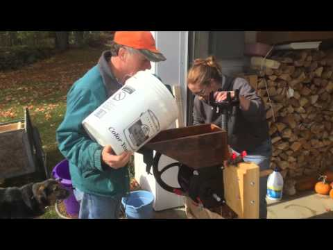 Grinding Apples with Happy Valley Homesteader Cider Press