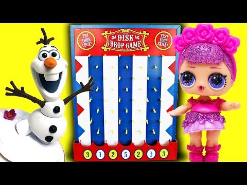 LOL Dolls and Frozen Disk Drop Game! Play & Sing with Sugar Queen, Elsa, Anna and Dollface!