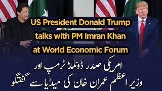US President Donald Trump talks with PM Imran Khan at World Economic Forum in Davos