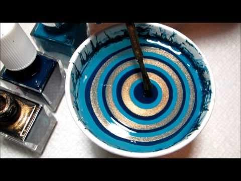 Ornate Holiday Teal and Gold Water Marble | DIY Nail Art Tutorial