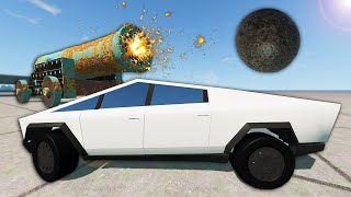 Giant Cannon Smashes Tesla Cybertruck! - BeamNG Gameplay & Crashes