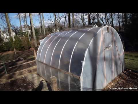 1 Year Later: Homemade Greenhouse Hoop House High Tunnel PVC Polytunnel Raised Planter Beds Garden