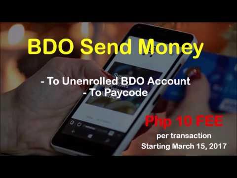 BDO Send Money Php10 Fee Starting March 15, 2017