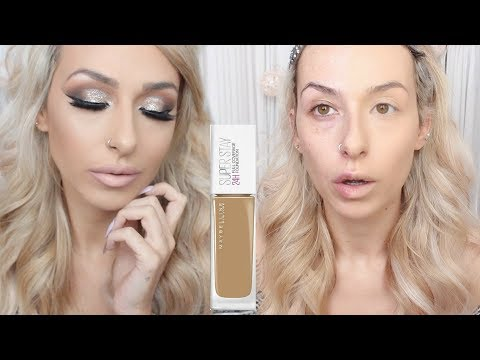 MAYBELLINE 24HR SUPERSTAY FULL COVERAGE FOUNDATION | WEAR TEST REVIEW