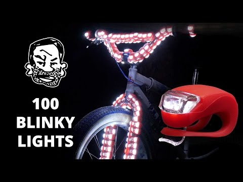 100 Blinky Bike Lights on a Fat Tire BMX
