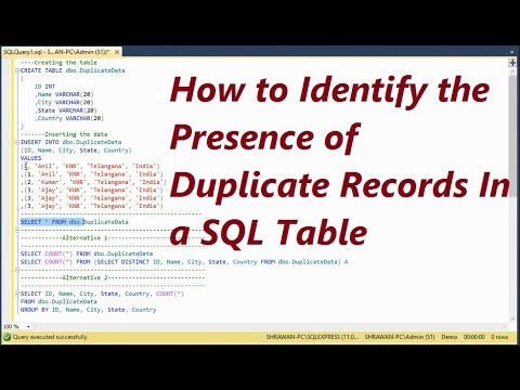 How To Identify The Duplicate Records Present In a Table In SQL Server - Part 1