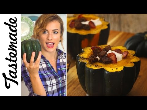 Squash Bowl Roasted Garlic Soup | The Tastemakers-Julie Nolke