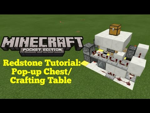 Minecraft Pocket Edition Redstone Tutorial: Hidden Pop-up Chest/Crafting Table (MCPE 1.1.0)