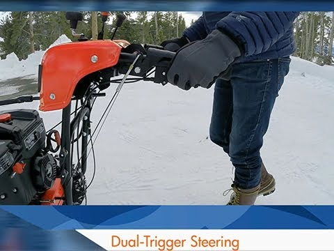 Dual-Trigger Steering on Simplicity Snowblowers