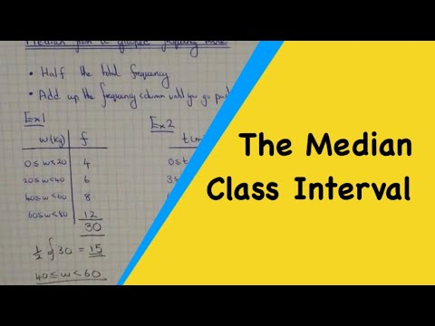 How to work out the median class interval from a grouped frequency table