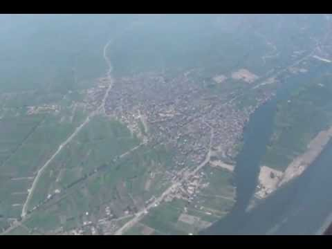 Landing at Cairo airport with nice view of Giza Pyramids Egypt Air Boeing 777.avi