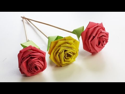 How to Make Rose with Paper Strip (Quilling Rose) - DIY Paper Craft
