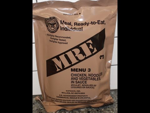 US Military MRE Menu A #3 Chicken, Egg Noodles, and Vegetables in Sauce Review