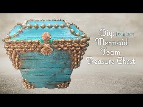 MERMAID FOAM TREASURE CHEST - Dollar Tree DIY