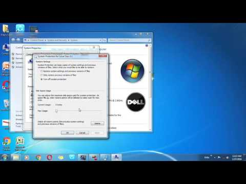 How to Delete restore point in windows 7