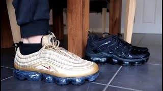 4c8d34ce91 NIKE AIR VAPORMAX 97 'METALLIC GOLD' UNBOXING, REVIEW & ON FOOT