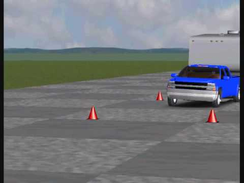 Fifth Wheel RV - Simulation of Double Lane Change with Low Pin Weight
