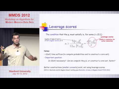 Leverage Scores, the Column Subset Selection Problem, and Least squares Problems, Petros Drineas