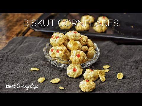 Resepi Biskut Cornflakes Rangup | Cornflakes Cookies - Biskut Raya
