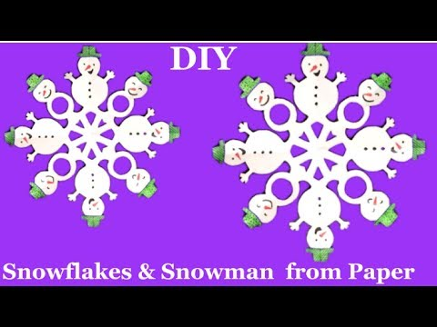 How to make paper snowman snowflake tutorial |Christmas decoration ideas | kids craft for Christmas