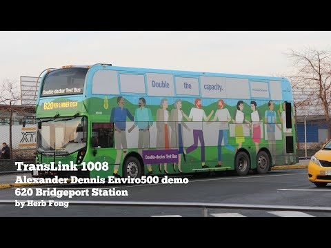 TransLink CMBC: ride on R1008 on 620 Bridgeport Station! (Alexander Dennis Enviro500 demo)