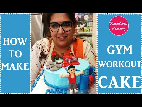 How to make Gym workout fitness equipment cake: cake decorating tutorial