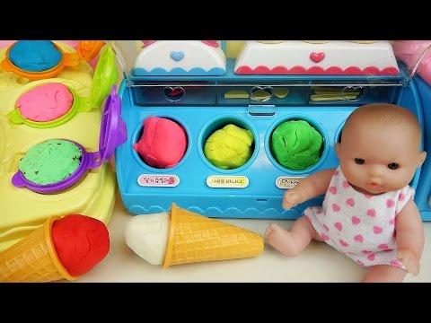Baby doll Ice cream play doh toys play