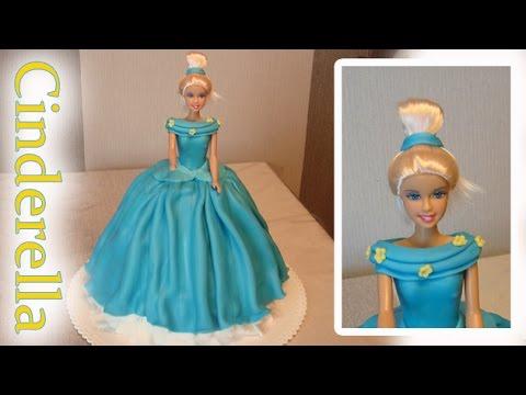 Cinderella Cake How to do a Disney Princess Barbie Doll cake