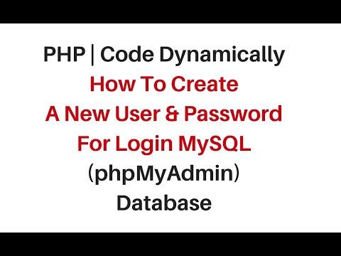 mysql (phpmyadmin) create new login user, password dynamically php mysqli