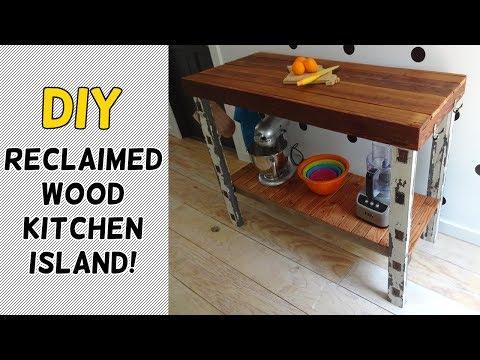 DIY Reclaimed Wood Kitchen Island!