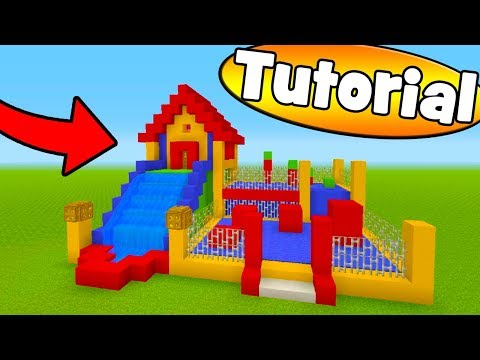 Minecraft Tutorial: How To Make A Bouncy House House With a Water Slide