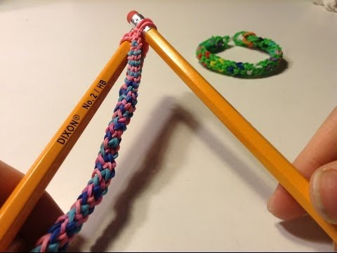 EASY Inverted Fishtail Rainbow Loom Bracelet w/ Pencils (no loom required)