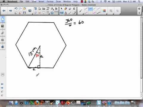 Finding Areas of Regular Polygons using the Radius