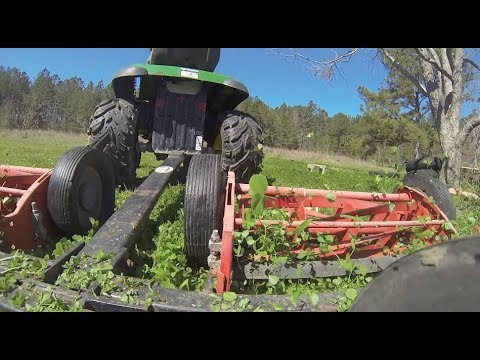 Pulling the Real Mower with the John Deere