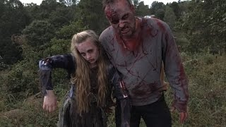 Princess Ella gets bit by a zombie when she goes to a haunted house inside a barn. New scary skit