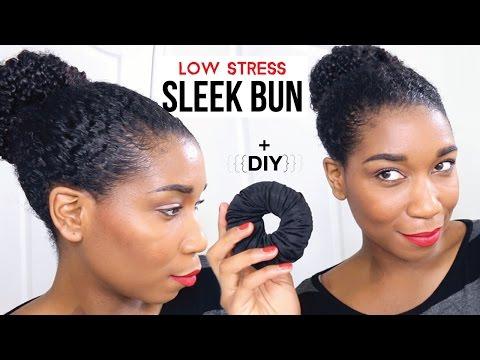 Sleek Bun w/ Minimum Stress + DIY Satin Lined Hair Donut   Natural Hair