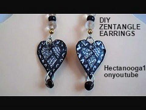 Jewelry making, paper beads,  ZENTANGLE EARRINGS, diy earrings,
