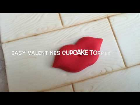 How to make easy valentines Cupcake Toppers - Lips