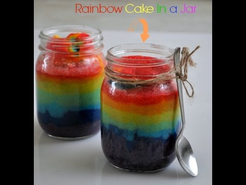 Eggles No bake rainbow cake in a jar for kids