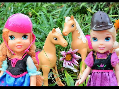 Anna and Elsa Toddlers Pony Horses Riding Trail Barbie Stable! Kids Toys & Dolls Adventures Family