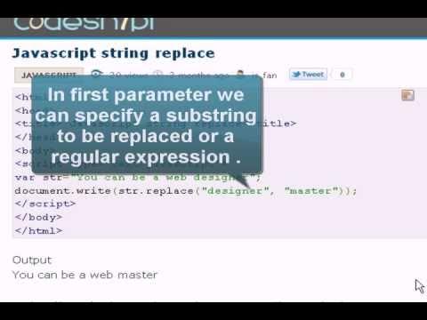 JAVASCRIPT Tutoriral : string replace