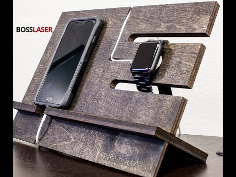 DIY Laser Cut Wooden iPhone + Watch Charging Dock - Download File