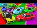 Waterslide Colors With Street Vehicles Racing Car Color Video Nursery Rhymes For Children