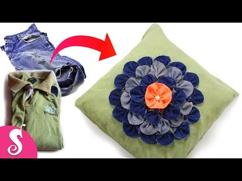 Make Awesome Pillow/Cushion Cover from Old Jeans & T-Shirt Recycling | Sofa Decorating