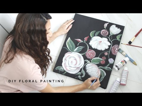 DIY FLORAL PAINTING- Perfect for PAINT NIGHT with friends!