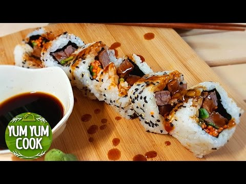 How to Make Beef Sushi Roll | YumYumCook