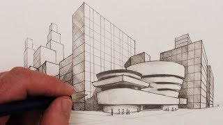 How to Draw 2-Point Perspective: The Guggenheim New York