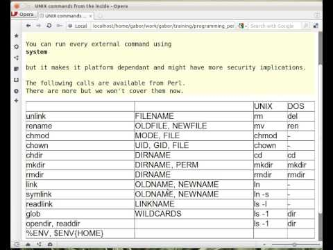 Beginner Perl Maven tutorial: 11.3 - UNIX and DOS commands