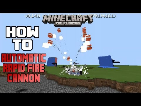 How To Make An Automatic Rapid Fire TNT Cannon (Machine Gun) In MCPE 0.14.0 |Minecraft PE How To #20